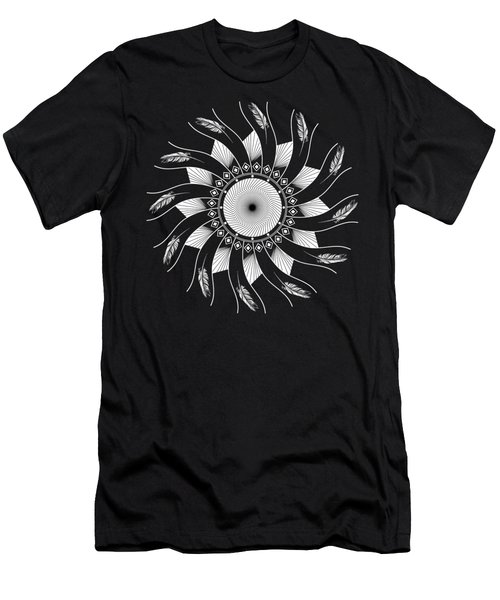 Men's T-Shirt (Athletic Fit) featuring the digital art Mandala White And Black by Linda Lees