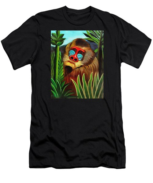 Mandrill In The Jungle Men's T-Shirt (Slim Fit) by Henri Rousseau