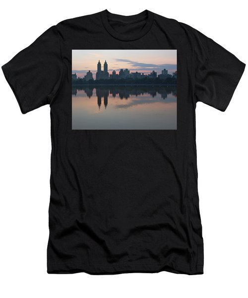 Manhattan At Night  Men's T-Shirt (Slim Fit) by Yvonne Wright