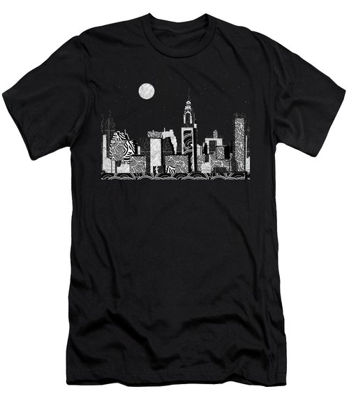 Manhattan At Night New York Swings Men's T-Shirt (Slim Fit) by Cecely Bloom