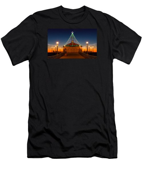 Men's T-Shirt (Athletic Fit) featuring the photograph Manhattan Pier Christmas Lights by Michael Hope