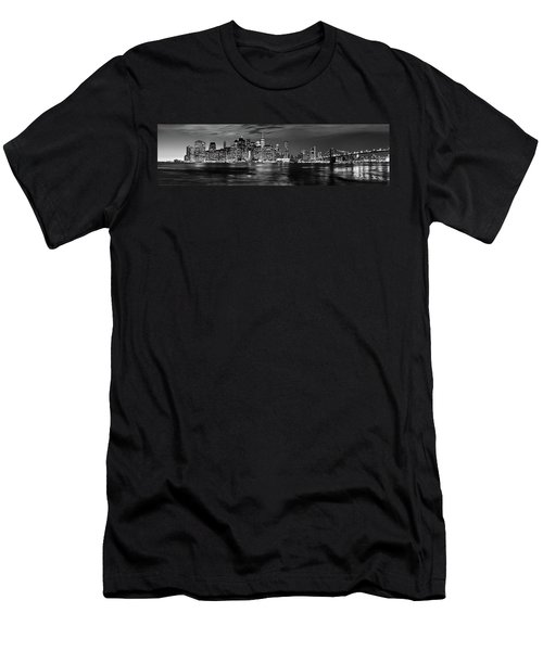 Manhattan Skyline At Dusk From Broklyn Bridge Park In Black And  Men's T-Shirt (Athletic Fit)