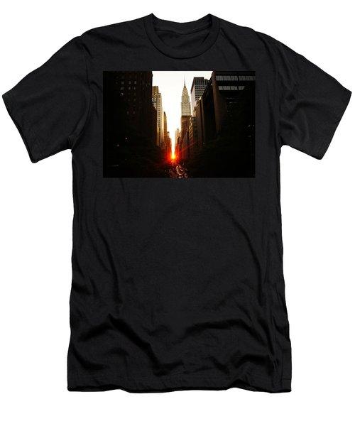 Manhattanhenge Sunset Over The Heart Of New York City Men's T-Shirt (Slim Fit) by Vivienne Gucwa