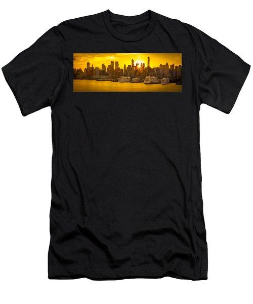 Manhattan's Ports At Sunrise Men's T-Shirt (Athletic Fit)