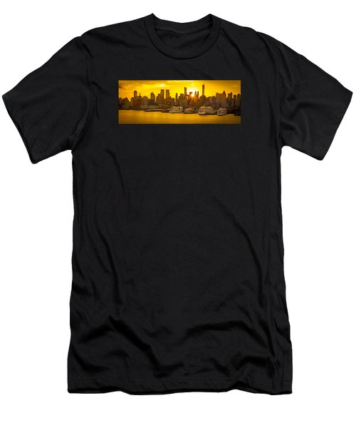 Manhattan's Ports At Sunrise Men's T-Shirt (Athletic Fit)