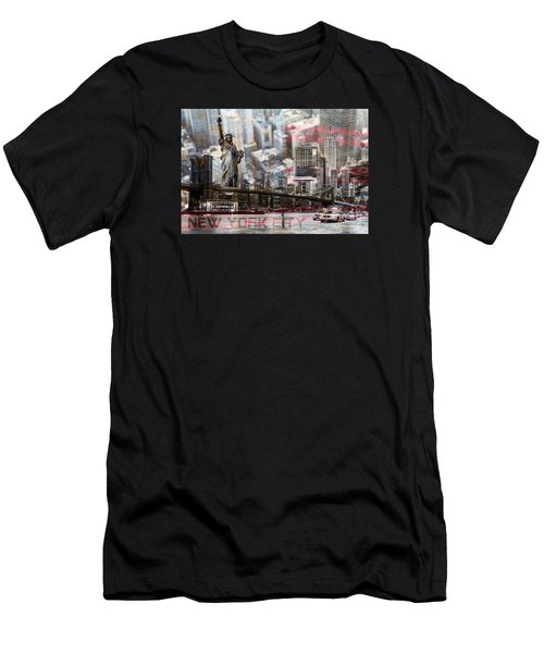 Men's T-Shirt (Slim Fit) featuring the photograph Manhatten From Above by Hannes Cmarits