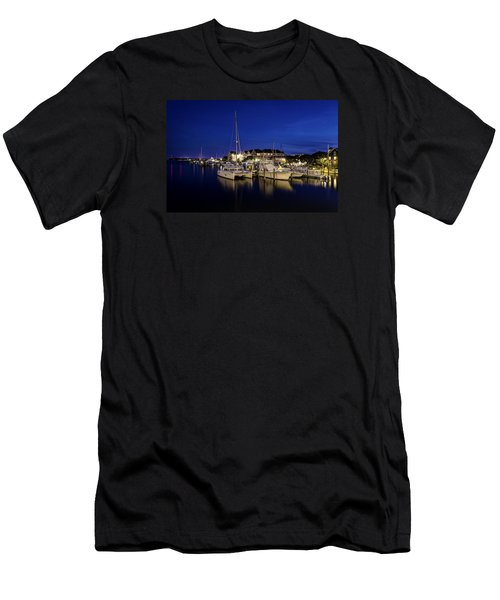 Manteo Waterfront Marina At Night Men's T-Shirt (Athletic Fit)