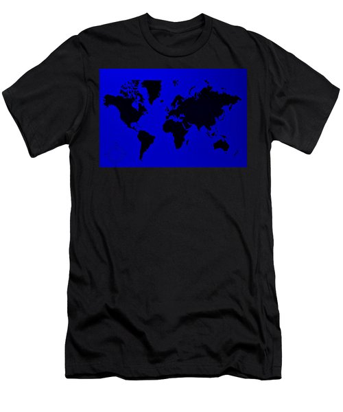 Men's T-Shirt (Athletic Fit) featuring the photograph Map Of The World Blue by Rob Hans