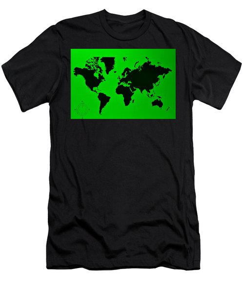 Men's T-Shirt (Athletic Fit) featuring the photograph Map Of The World Green by Rob Hans