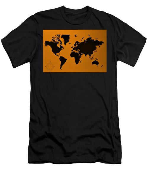 Men's T-Shirt (Athletic Fit) featuring the photograph Map Of The World Orange by Rob Hans