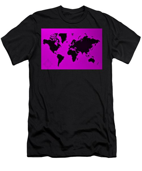 Men's T-Shirt (Athletic Fit) featuring the photograph Map Of The World Purple by Rob Hans