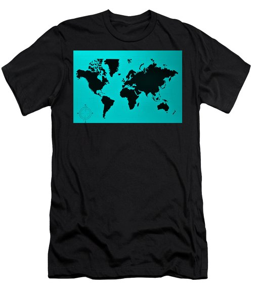 Men's T-Shirt (Athletic Fit) featuring the photograph Map Of The World Turquoise by Rob Hans