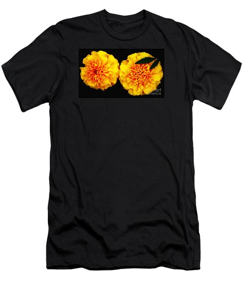 Men's T-Shirt (Slim Fit) featuring the photograph Marigolds With Oil Painting Effect by Rose Santuci-Sofranko