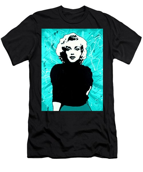 Men's T-Shirt (Athletic Fit) featuring the painting Marilyn Monroe Blue Green Aqua Tint by Bob Baker