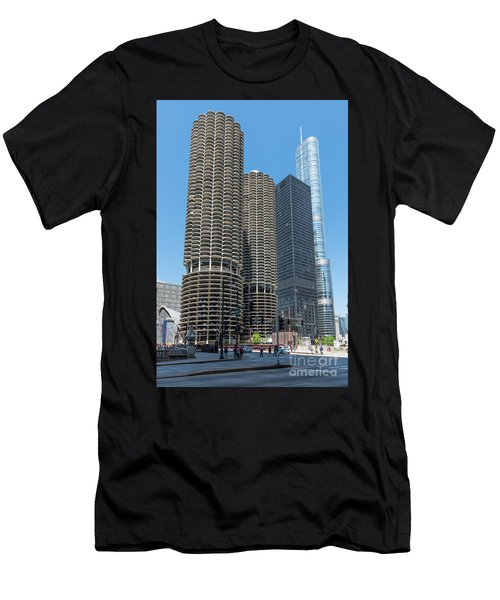 Marina City, Ama Plaza, And Trump Tower Men's T-Shirt (Athletic Fit)