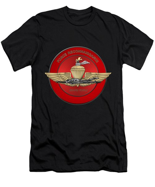 Marine Force Reconnaissance  -  U S M C   F O R E C O N  Insignia Over Black Velvet Men's T-Shirt (Athletic Fit)