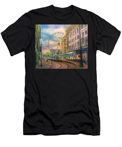 Market Street Metrolink Tramstop With The Manchester Wheel  Men's T-Shirt (Athletic Fit)