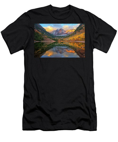 Maroon Bells Autumn Reflections Men's T-Shirt (Slim Fit) by Greg Norrell