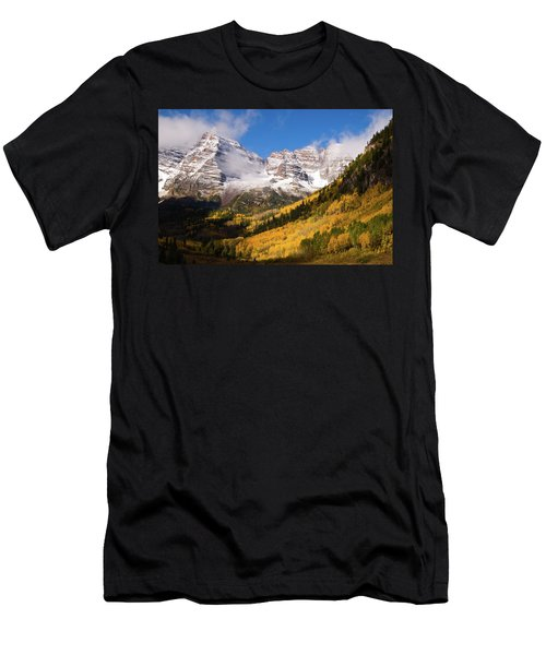 Men's T-Shirt (Slim Fit) featuring the photograph Maroon Bells by Steve Stuller