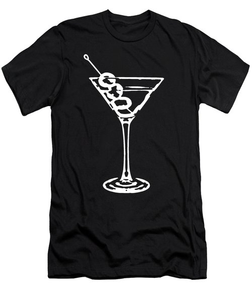 Martini Glass Tee White Men's T-Shirt (Athletic Fit)