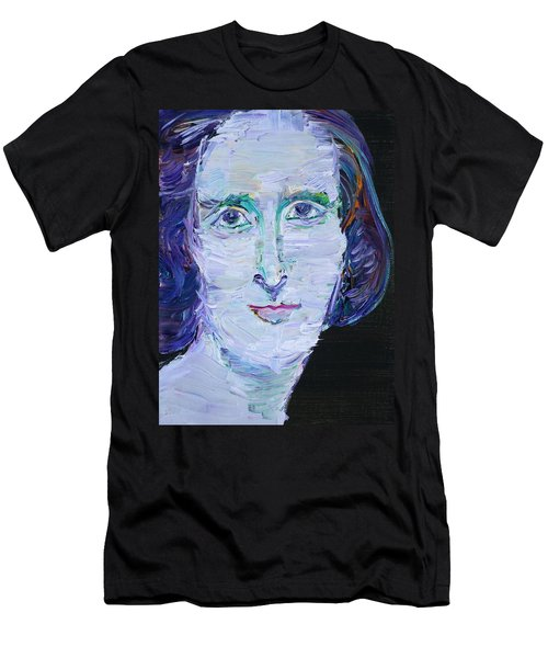 Men's T-Shirt (Slim Fit) featuring the painting Mary Shelley - Oil Portrait by Fabrizio Cassetta