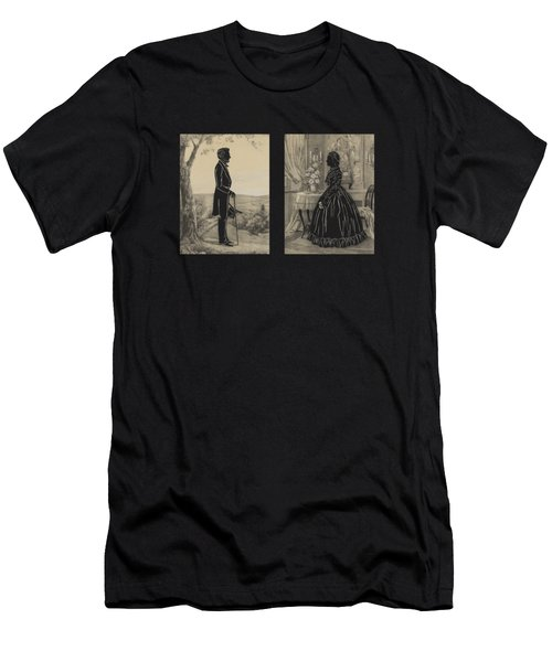 Mary Todd And Abraham Lincoln Silhouettes Men's T-Shirt (Athletic Fit)