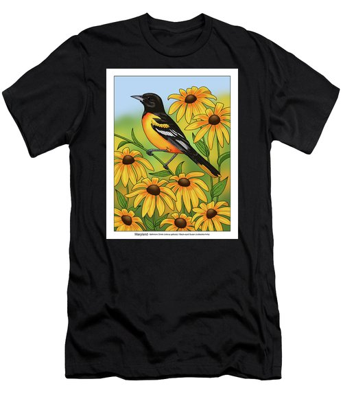 Maryland State Bird Oriole And Daisy Flower Men's T-Shirt (Athletic Fit)