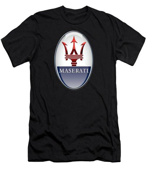 Maserati - 3d Badge On Black Men's T-Shirt (Slim Fit) by Serge Averbukh
