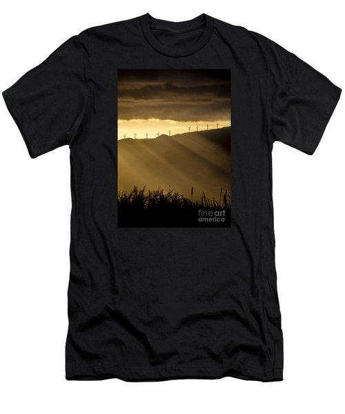 Maui Wind Farm Sunset Men's T-Shirt (Athletic Fit)