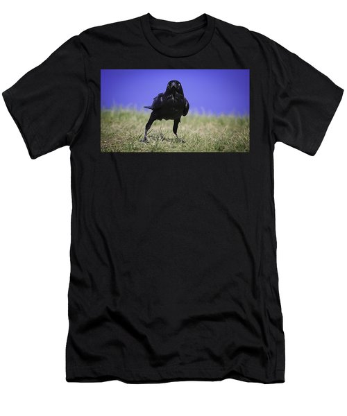 Men's T-Shirt (Athletic Fit) featuring the photograph Menacing Crow by Chris Cousins
