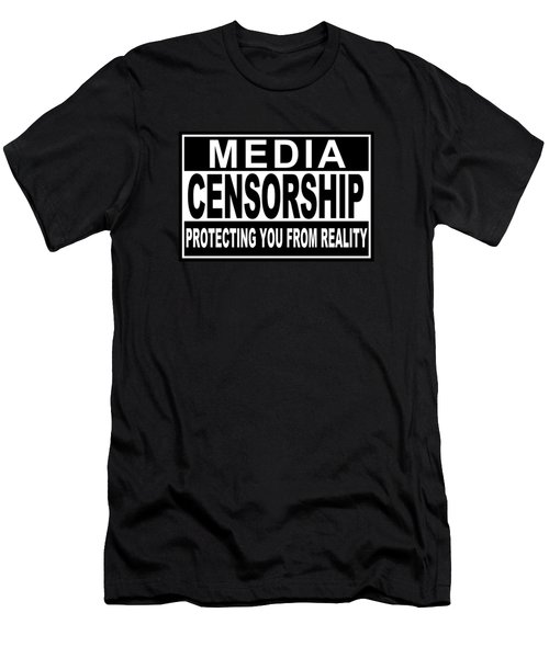 Men's T-Shirt (Slim Fit) featuring the digital art Media Censorship Protecting You From Reality by Bruce Stanfield