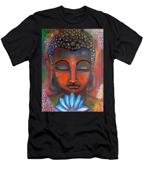 Meditating Buddha With A Blue Lotus Men's T-Shirt (Athletic Fit)