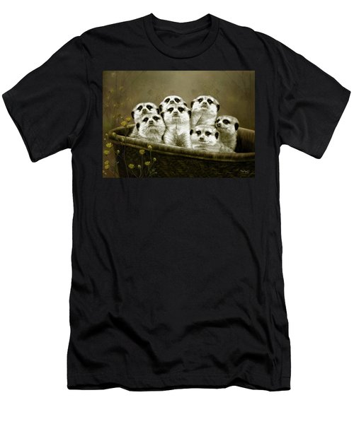 Men's T-Shirt (Slim Fit) featuring the digital art Meerkats by Thanh Thuy Nguyen