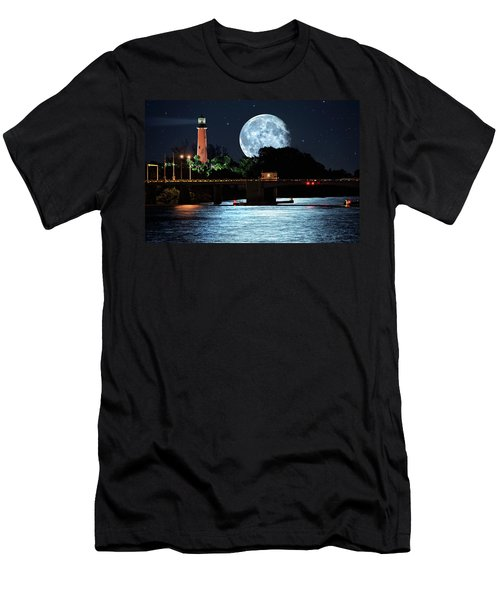 Mega Super Moon Rising Over Jupiter Lighthouse Men's T-Shirt (Athletic Fit)