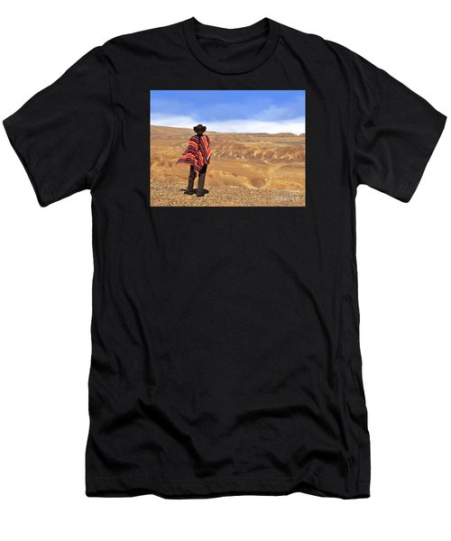 Man In A Poncho In The Desert Men's T-Shirt (Athletic Fit)