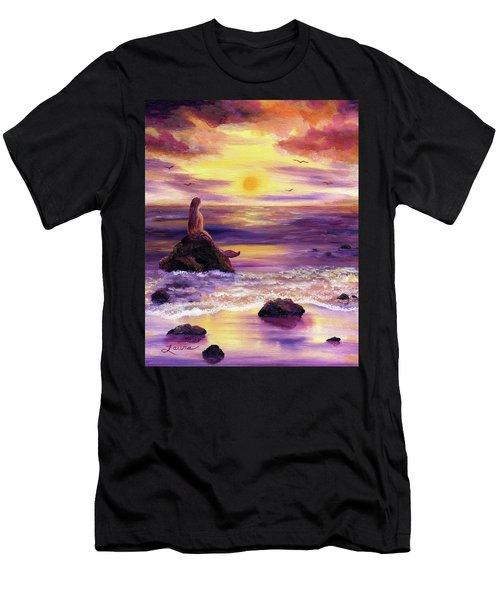 Mermaid In Purple Sunset Men's T-Shirt (Athletic Fit)