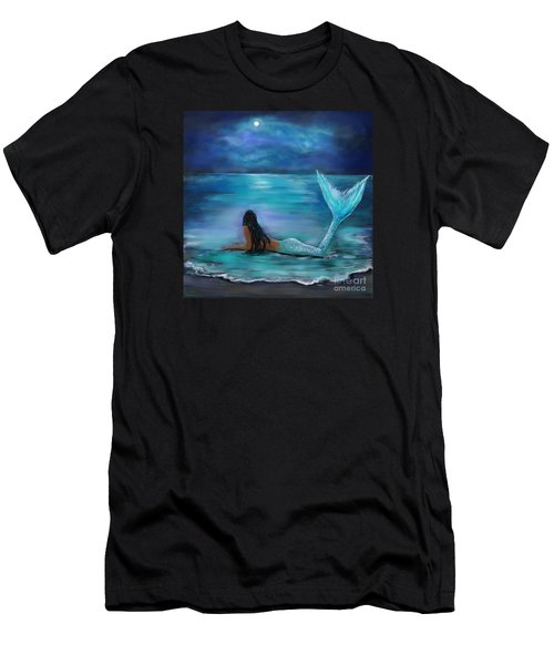 Mermaid Moon And Stars Men's T-Shirt (Athletic Fit)