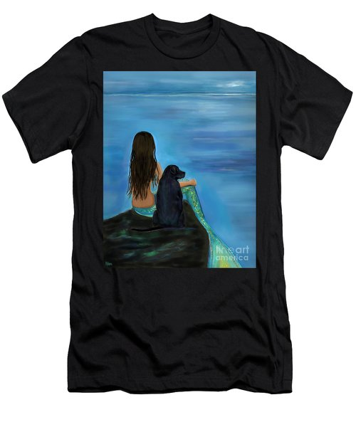 Men's T-Shirt (Athletic Fit) featuring the painting Mermaids Loyal Bud by Leslie Allen
