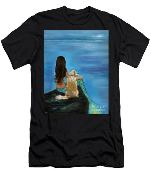Men's T-Shirt (Athletic Fit) featuring the painting Mermaids Loyal Buddy by Leslie Allen