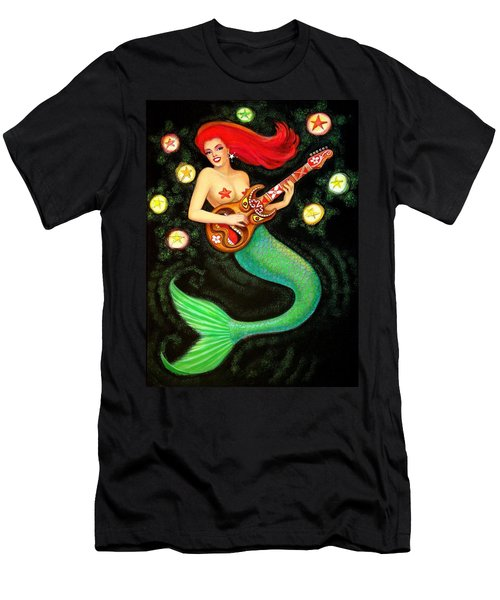 Men's T-Shirt (Slim Fit) featuring the painting Mermaids Rock Tiki Guitar by Sue Halstenberg