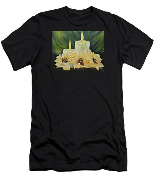 Men's T-Shirt (Slim Fit) featuring the mixed media Our Lady And Child Jesus by AmaS Art
