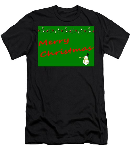 Merry Christmas Little Snow Man On Green Men's T-Shirt (Athletic Fit)