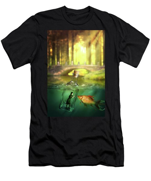 Men's T-Shirt (Slim Fit) featuring the digital art Message In A Bottle by Nathan Wright