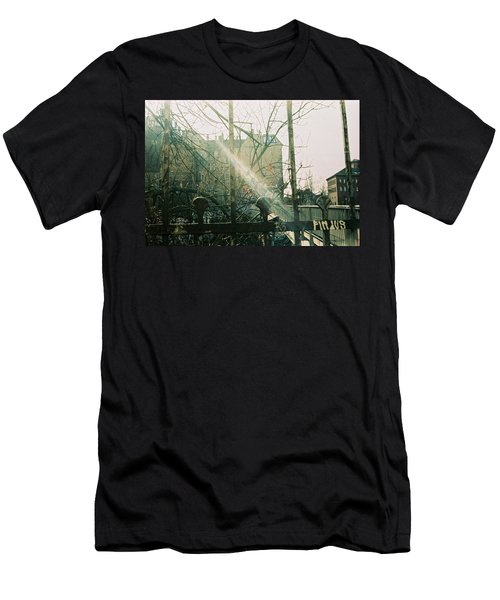 Metal Fence With Grafitti And Bridge Men's T-Shirt (Athletic Fit)