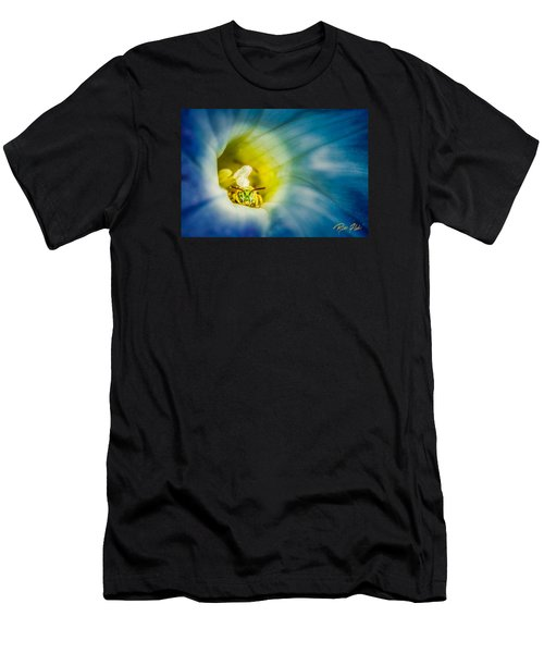 Men's T-Shirt (Athletic Fit) featuring the photograph Metallic Green Bee In Blue Morning Glory by Rikk Flohr