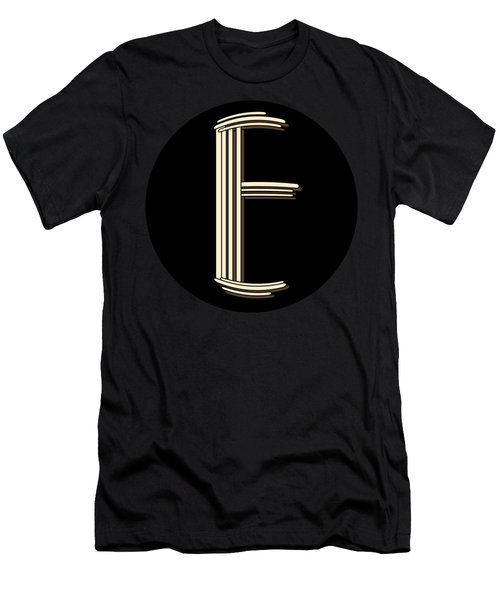 Metropolitan Park Deco 1920s Monogram Letter Initial E Men's T-Shirt (Athletic Fit)