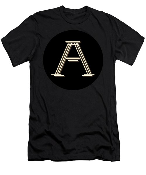 Metropolitan Park Deco 1920s Monogram Letter Initial A Men's T-Shirt (Athletic Fit)