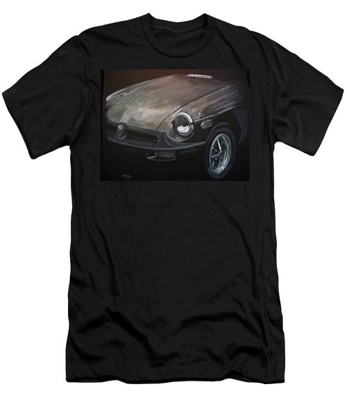 Men's T-Shirt (Athletic Fit) featuring the painting Mgb Rubber Bumper Front by Richard Le Page