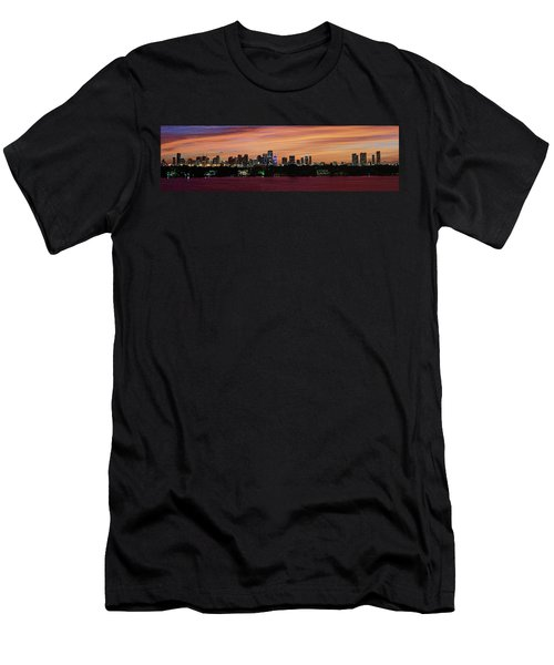 Men's T-Shirt (Slim Fit) featuring the photograph Miami Sunset Panorama by Gary Dean Mercer Clark