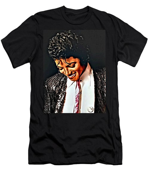 Men's T-Shirt (Slim Fit) featuring the painting Michael Jackson The Ultimate Humanitarian by Karen Showell